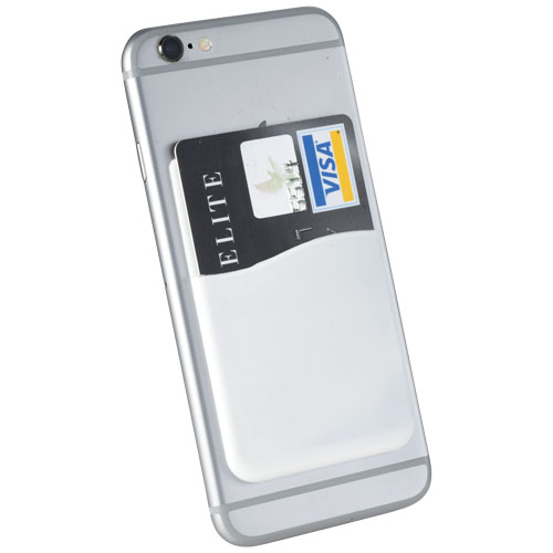 Slim card wallet accessory for smartphones in white-solid