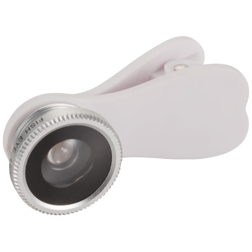Fish-eye smartphone camera lens with clip in silver