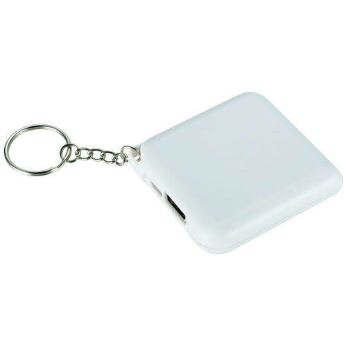 Emergency Power bank with Keychain 1800mAh in white-solid