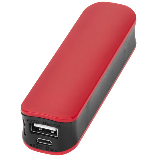 Edge 2000 mAh power bank in red-and-black-solid