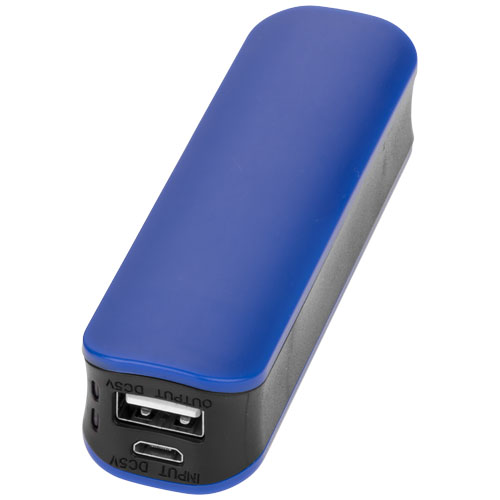 Edge 2000 mAh power bank in royal-blue-and-black-solid