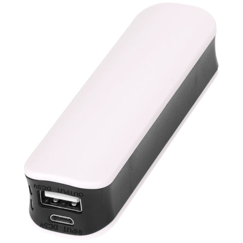 Edge 2000 mAh power bank in white-solid-and-black-solid