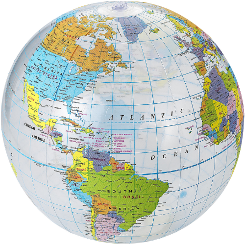 Globe transparent beach ball in