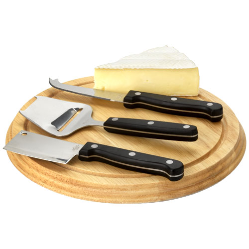 Fort 4-piece cheese serving gift set in brown
