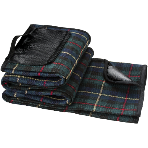 Park water and dirt resistant picnic blanket in black-solid-and-green