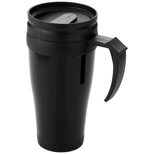 Daytona 440 ml insulated mug in white-solid-and-black-solid