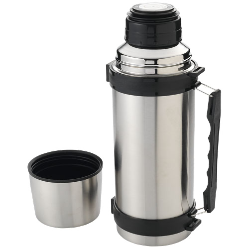 Everest 1000 ml vacuum insulated flask with strap in silver-and-black-solid