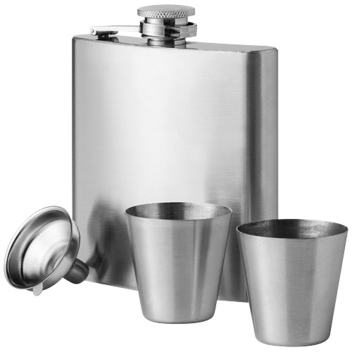 Texas 175 ml hip flask with two shot tumblers in