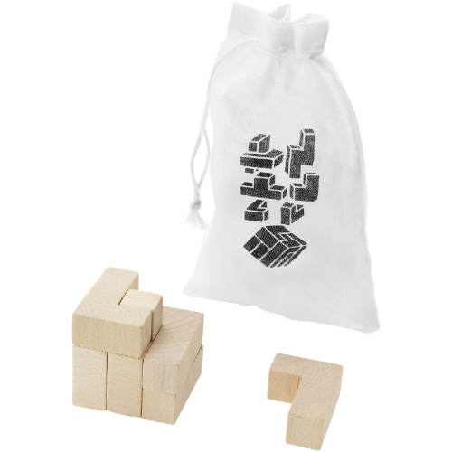 Solfee wooden squares brain teaser with pouch in