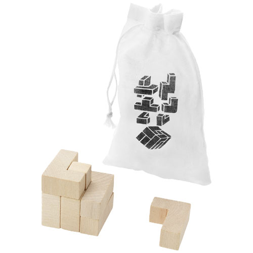 Solfee wooden squares brain teaser with pouch in wood