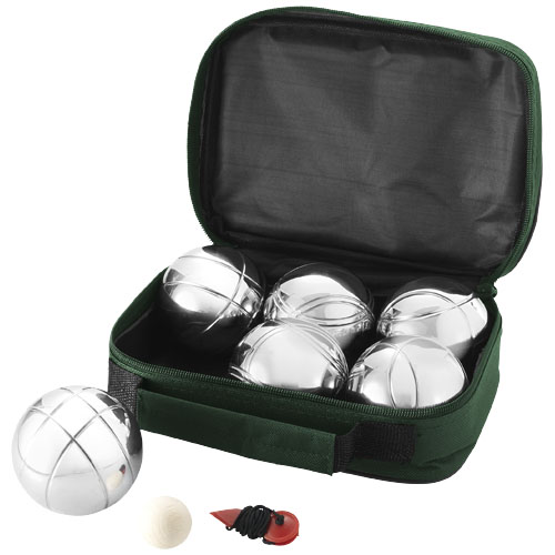 Henri 6-ball pétanque set in green-and-silver