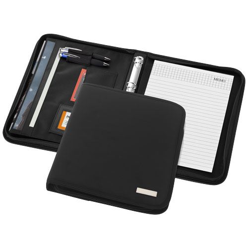 Stanford deluxe A4 zippered portfolio in black-solid