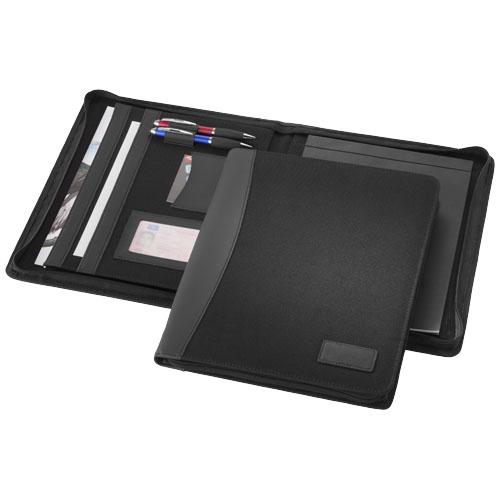 Cardiff A4 zippered portfolio in black-solid