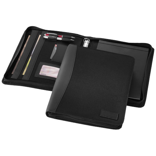 Cardiff deluxe A4 zippered portfolio in black-solid