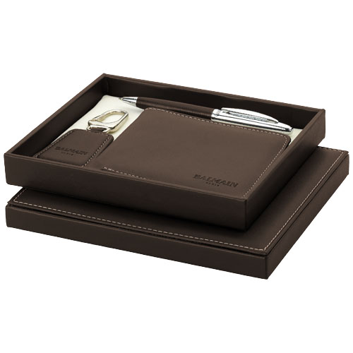 Ballpoint pen gift set in brown-and-silver