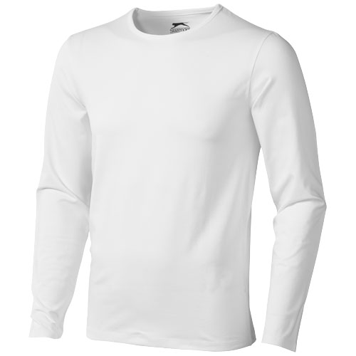 Curve long sleeve men's t-shirt in white-solid