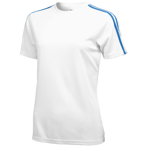 Baseline short sleeve ladies t-shirt. in white-solid-and-sky-blue
