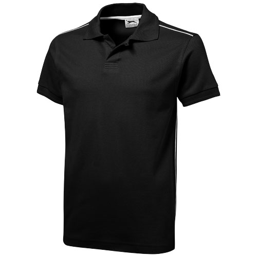 Backhand short sleeve Polo in black-solid