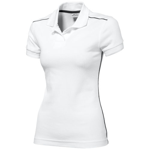 Backhand short sleeve ladies polo in white-solid
