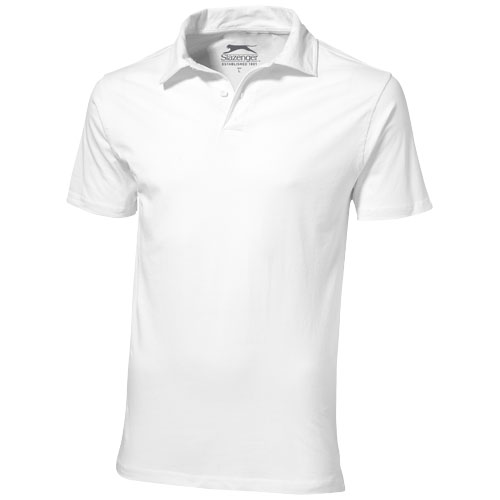 Let short sleeve men's jersey polo in white-solid
