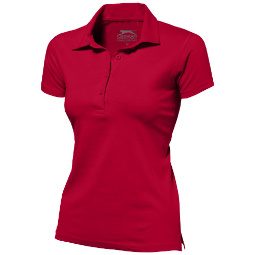 Let short sleeve women's jersey polo in red