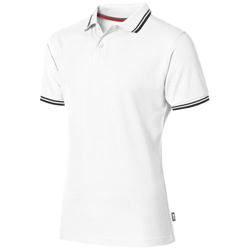 Deuce short sleeve men's polo with tipping in white-solid