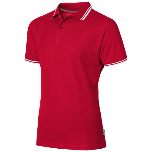 Deuce short sleeve men's polo with tipping in red