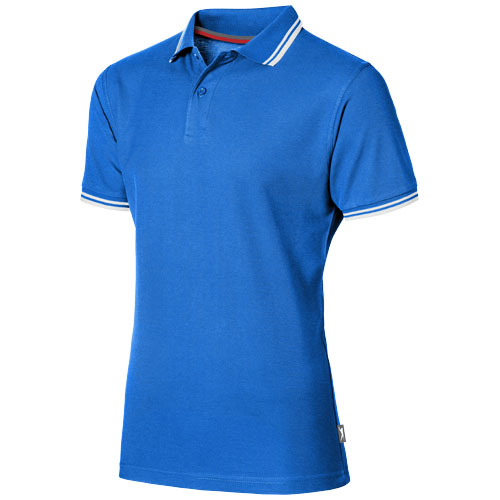 Deuce short sleeve men's polo with tipping in sky-blue
