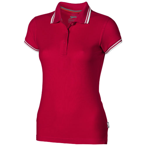 Deuce short sleeve women's polo with tipping in red