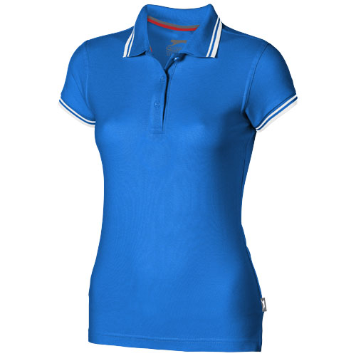 Deuce short sleeve women's polo with tipping in sky-blue
