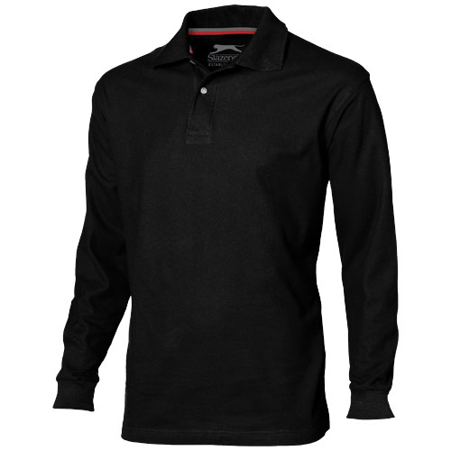 Point long sleeve men's polo in black-solid