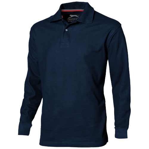 Point long sleeve men's polo in navy