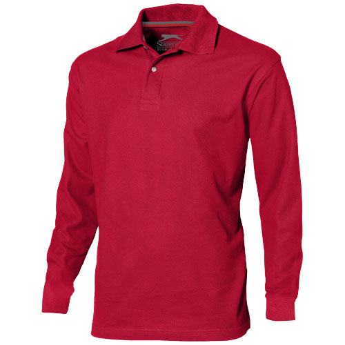 Point long sleeve men's polo in red