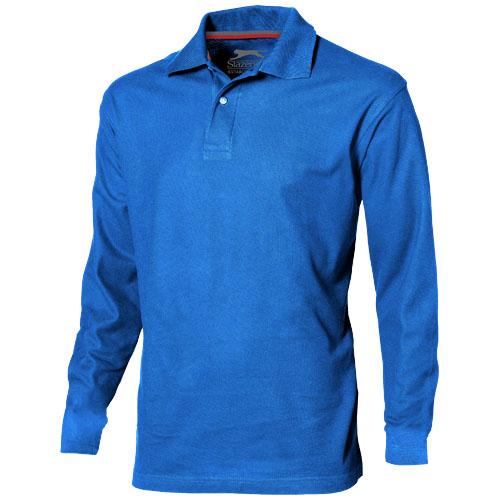 Point long sleeve men's polo in sky-blue