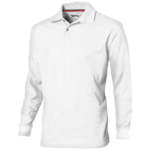 Point long sleeve men's polo in white-solid