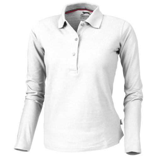 Point long sleeve women's polo in white-solid