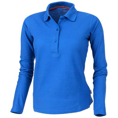 Point long sleeve women's polo in sky-blue