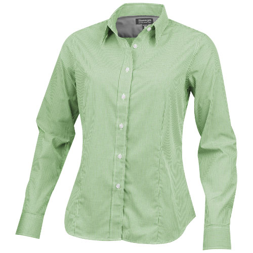 Net long sleeve ladies shirt in green