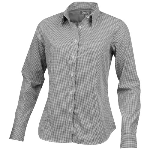 Net long sleeve ladies shirt in grey