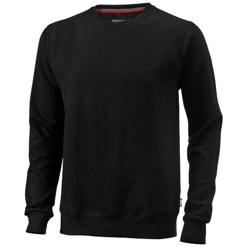 Toss crew neck sweater in black-solid