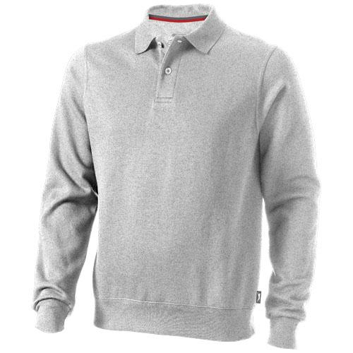 Referee polo sweater in grey-melange
