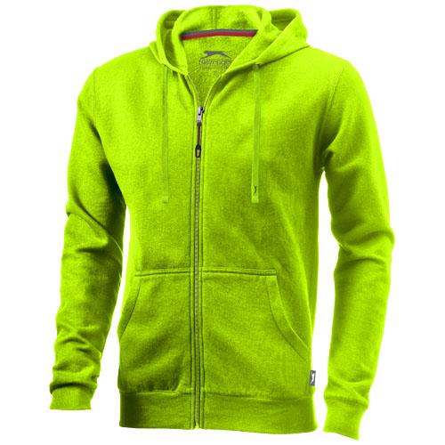 Open full zip hooded sweater in apple-green