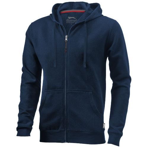 Open full zip hooded sweater in navy