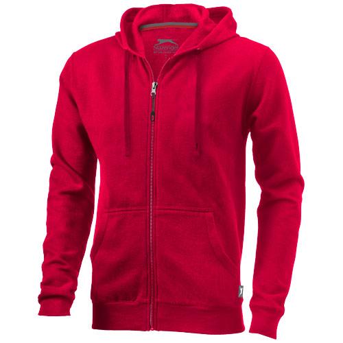 Open full zip hooded sweater in red