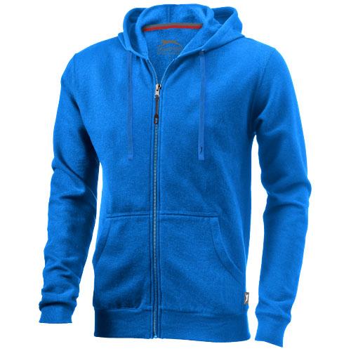 Open full zip hooded sweater in sky-blue