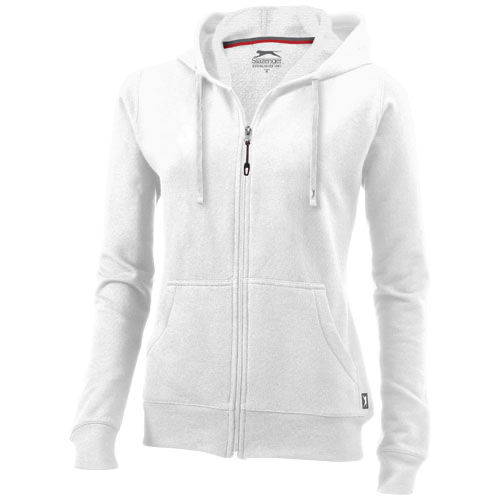 Open full zip hooded ladies sweater in white-solid