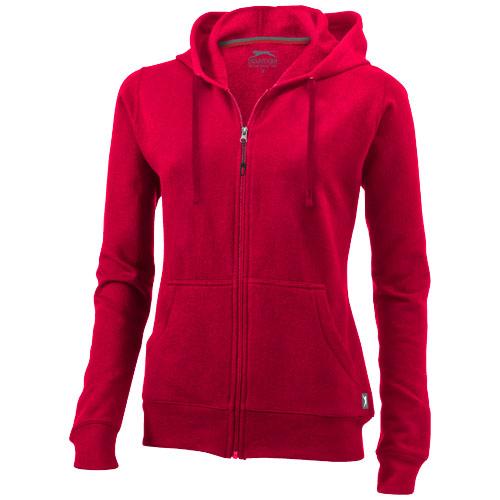 Open full zip hooded ladies sweater in red