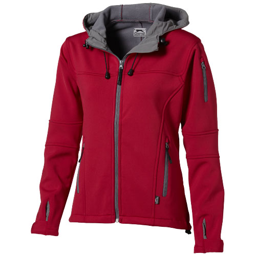 Match ladies softshell jacket in red