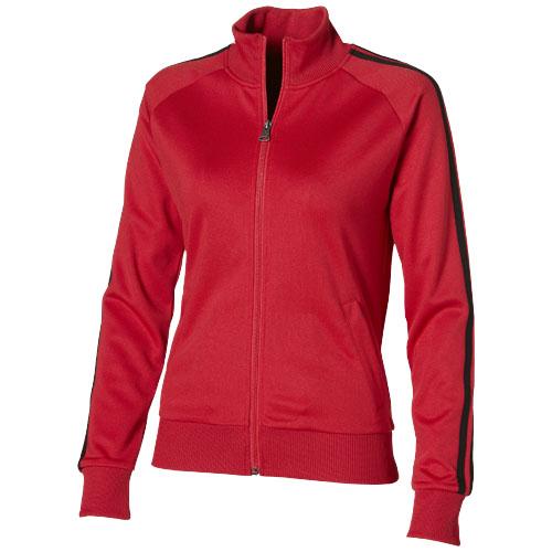 Court Full Zip Ladies Sweater in red
