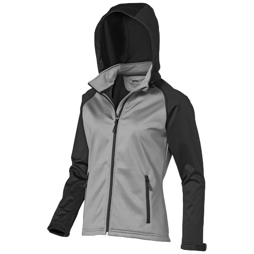 Challenger Softshell Ladies Jacket in grey-and-black-solid